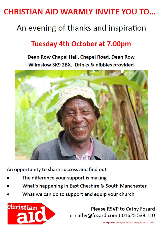 Christian Aid Supporters Evening: Tuesday 4th October