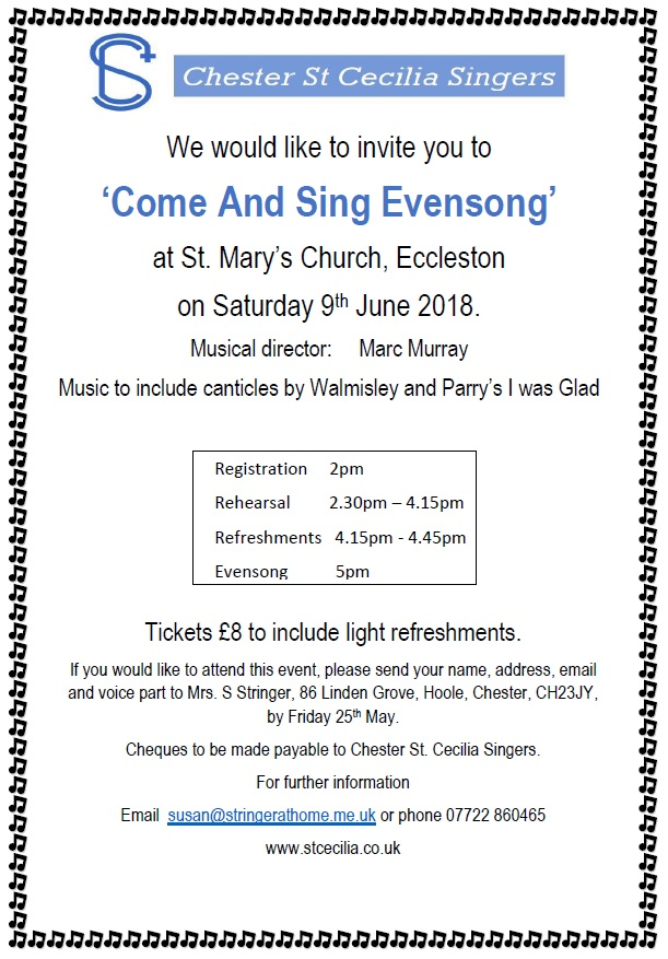 Come and Sing Evensong at Eccleston (South of Chester)